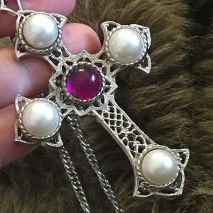 Vintage 70s Sarah Coventry Crusader Cross necklace